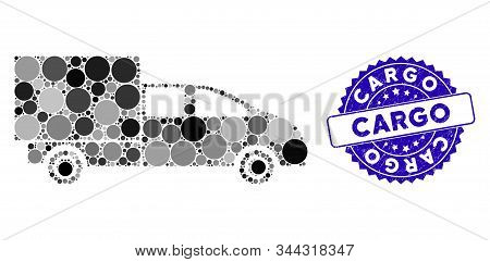 Mosaic Cargo Icon And Corroded Stamp Watermark With Cargo Caption. Mosaic Vector Is Designed With Ca