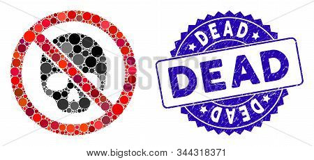 Mosaic No Dead Skull Icon And Distressed Stamp Seal With Dead Caption. Mosaic Vector Is Composed Wit