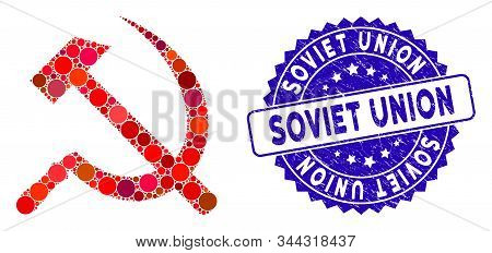 Mosaic Sickle And Hammer Icon And Distressed Stamp Seal With Soviet Union Text. Mosaic Vector Is For