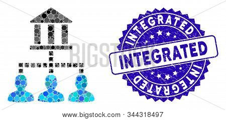 Mosaic Bank Clients Icon And Grunge Stamp Watermark With Integrated Caption. Mosaic Vector Is Create