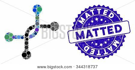 Mosaic Bypass Connection Icon And Rubber Stamp Watermark With Matted Text. Mosaic Vector Is Formed F