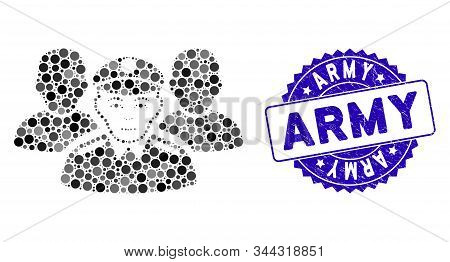 Collage Army Team Icon And Grunge Stamp Seal With Army Phrase. Mosaic Vector Is Composed With Army T
