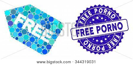 Mosaic Free Sticker Icon And Distressed Stamp Watermark With Free Porno Phrase. Mosaic Vector Is Des