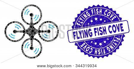Mosaic Flying Quadcopter Icon And Distressed Stamp Seal With Flying Fish Cove Text. Mosaic Vector Is