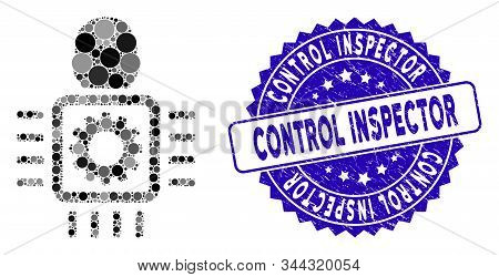 Mosaic Cyborg Processor Icon And Grunge Stamp Seal With Control Inspector Phrase. Mosaic Vector Is C