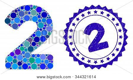 Mosaic 2 Digit Icon And Rubber Stamp Watermark With 2 Caption. Mosaic Vector Is Designed With 2 Digi