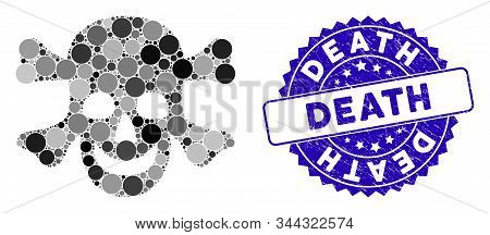 Mosaic Death Icon And Rubber Stamp Seal With Death Phrase. Mosaic Vector Is Formed From Death Icon A