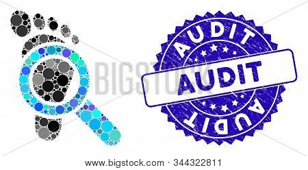 Collage Audit Icon And Rubber Stamp Watermark With Audit Phrase. Mosaic Vector Is Created With Audit