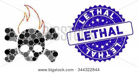 Mosaic Death Fire Icon And Grunge Stamp Watermark With Lethal Caption. Mosaic Vector Is Composed Wit