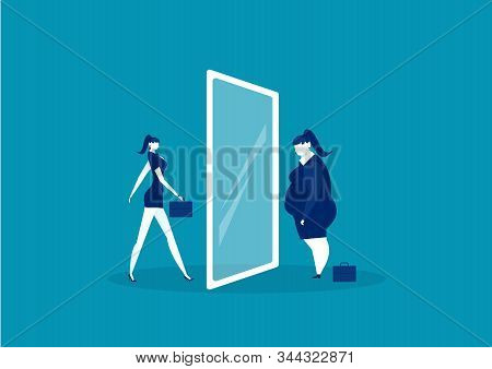 Businesswoman Looking At The Mirror Standing With Fat Belly. Compare Body Thin Vector