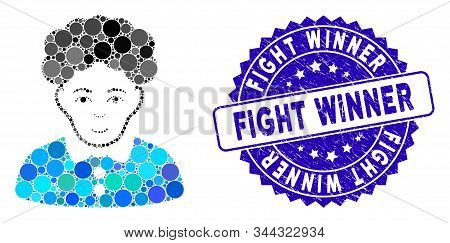 Mosaic Brunette Woman Icon And Distressed Stamp Seal With Fight Winner Phrase. Mosaic Vector Is Form