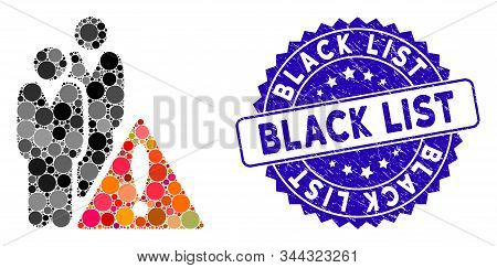 Mosaic Black List Icon And Corroded Stamp Watermark With Black List Phrase. Mosaic Vector Is Compose