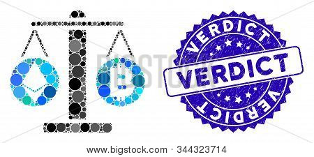 Mosaic Cryptocurrency Weight Icon And Distressed Stamp Seal With Verdict Caption. Mosaic Vector Is F