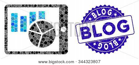 Collage Charts On Pda Icon And Distressed Stamp Seal With Blog Text. Mosaic Vector Is Formed With Ch