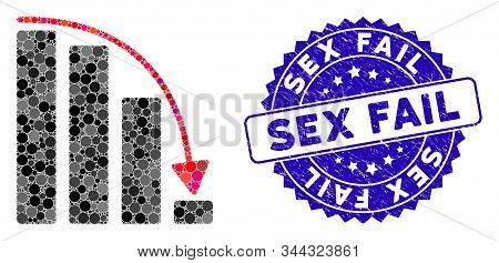 Mosaic Falling Acceleration Bar Chart Icon And Rubber Stamp Seal With Sex Fail Caption. Mosaic Vecto