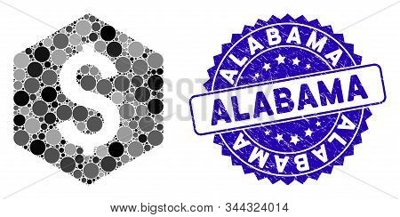 Mosaic Dollar Hexagon Icon And Corroded Stamp Seal With Alabama Text. Mosaic Vector Is Composed With