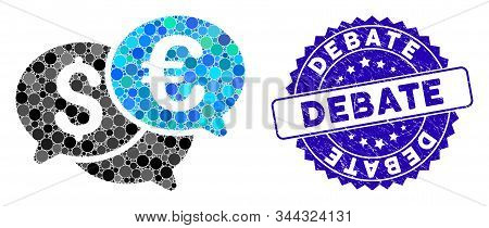 Mosaic Currency Bids Icon And Grunge Stamp Seal With Debate Phrase. Mosaic Vector Is Designed From C