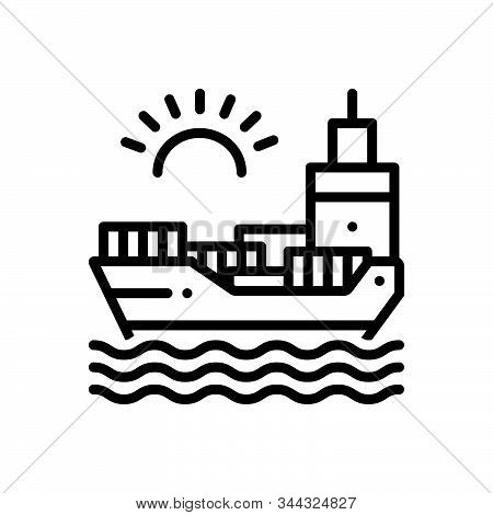 Black Line Icon For Chartering Ocean Sea Maritime Transport Transition