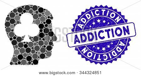 Mosaic Gambling Addiction Patient Icon And Grunge Stamp Watermark With Addiction Text. Mosaic Vector
