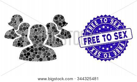 Mosaic Harem Icon And Grunge Stamp Watermark With Free To Sex Text. Mosaic Vector Is Designed With H