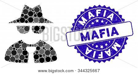 Collage Mafia Boss Icon And Grunge Stamp Seal With Mafia Text. Mosaic Vector Is Created With Mafia B