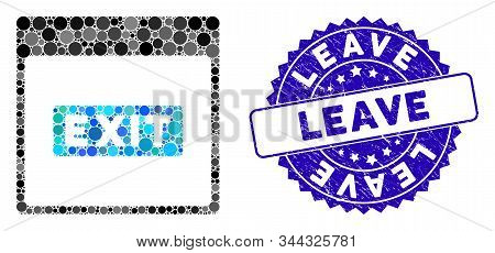 Mosaic Exit Caption Calendar Page Icon And Grunge Stamp Watermark With Leave Caption. Mosaic Vector