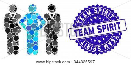 Mosaic Team Icon And Grunge Stamp Watermark With Team Spirit Phrase. Mosaic Vector Is Composed With