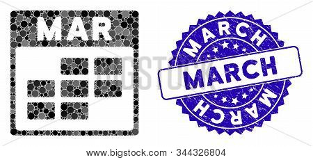 Mosaic March Calendar Grid Icon And Corroded Stamp Seal With March Caption. Mosaic Vector Is Compose