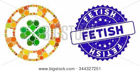 Mosaic Lucky Casino Chip Icon And Rubber Stamp Seal With Fetish Caption. Mosaic Vector Is Created Wi