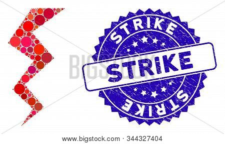 Collage Zigzag Strike Icon And Rubber Stamp Seal With Strike Caption. Mosaic Vector Is Composed With