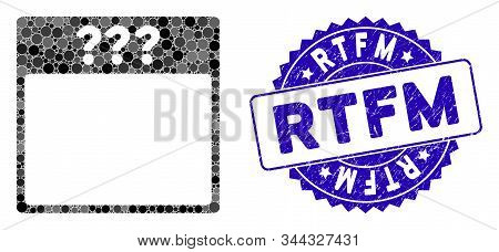 Collage Unknown Calendar Page Icon And Grunge Stamp Seal With Rtfm Phrase. Mosaic Vector Is Created