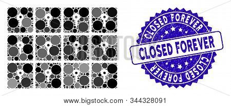 Mosaic Lockers Icon And Corroded Stamp Seal With Closed Forever Phrase. Mosaic Vector Is Composed Wi