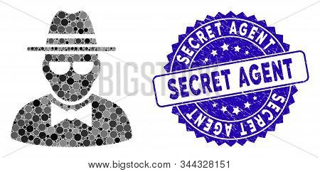 Mosaic Secret Agent Icon And Grunge Stamp Watermark With Secret Agent Caption. Mosaic Vector Is Desi