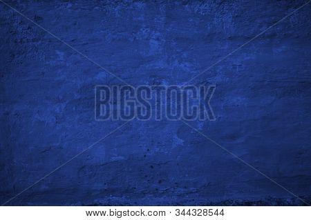 Texture Of Old Classic Blue Color Stucco Wall. Year 2020 Abstract Stucco Background.empty Blank Temp