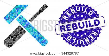 Mosaic Hammer And Screwdriver Icon And Grunge Stamp Seal With Rebuild Caption. Mosaic Vector Is Form
