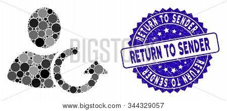 Collage Revert User Icon And Rubber Stamp Seal With Return To Sender Phrase. Mosaic Vector Is Design