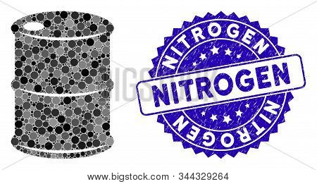 Mosaic Oil Barrel Icon And Grunge Stamp Seal With Nitrogen Caption. Mosaic Vector Is Composed With O