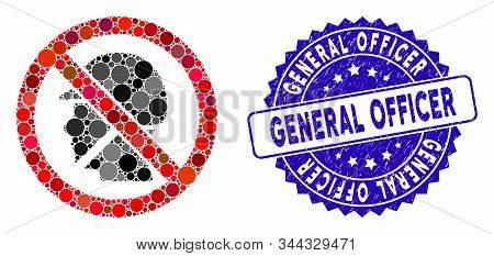 Mosaic No Soldier Icon And Grunge Stamp Seal With General Officer Caption. Mosaic Vector Is Designed