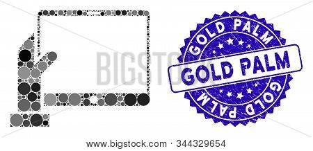 Mosaic Hand Holds Pda Icon And Grunge Stamp Seal With Gold Palm Phrase. Mosaic Vector Is Designed Wi