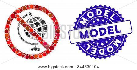 Mosaic No Globe Model Icon And Distressed Stamp Seal With Model Phrase. Mosaic Vector Is Composed Wi