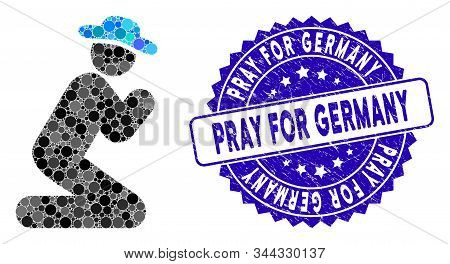 Mosaic Gentleman Pray Icon And Distressed Stamp Seal With Pray For Germany Phrase. Mosaic Vector Is