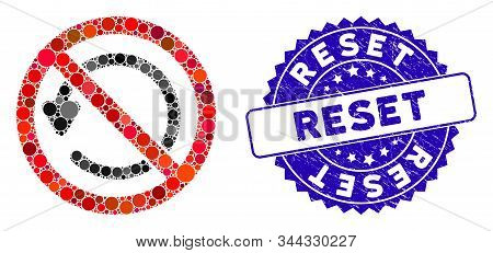 Mosaic Not Rotate Icon And Distressed Stamp Watermark With Reset Caption. Mosaic Vector Is Designed