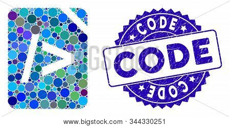 Collage Script Code Icon And Grunge Stamp Seal With Code Text. Mosaic Vector Is Designed With Script