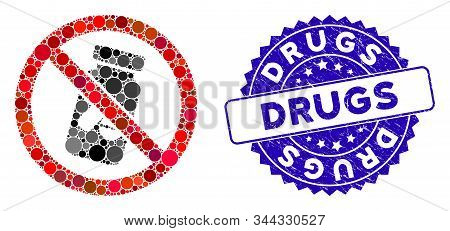 Mosaic No Chemical Drugs Icon And Grunge Stamp Seal With Drugs Caption. Mosaic Vector Is Designed Wi