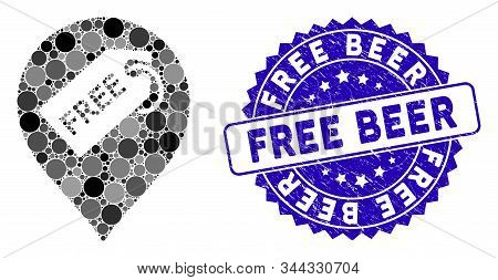 Mosaic Free Tag Marker Icon And Corroded Stamp Seal With Free Beer Caption. Mosaic Vector Is Created