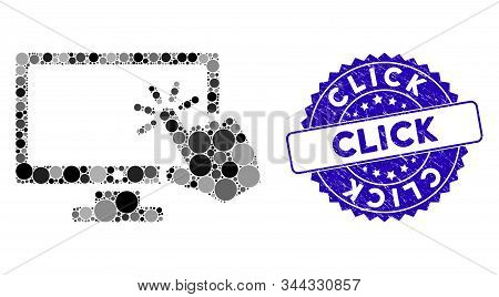 Mosaic Screen Click Icon And Corroded Stamp Seal With Click Text. Mosaic Vector Is Composed From Scr