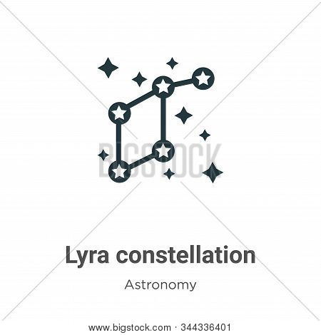 Lyra Constellation Vector Icon On White Background. Flat Vector Lyra Constellation Icon Symbol Sign