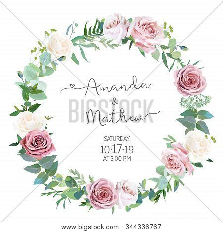 Dusty Rose, Greenery Selection Vector Design Round Invitation Frame. Wedding Greenery. Pink, Blue, G