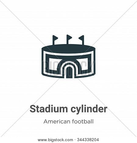 Stadium Cylinder Vector Icon On White Background. Flat Vector Stadium Cylinder Icon Symbol Sign From