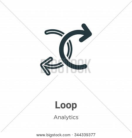 Loop Vector Icon On White Background. Flat Vector Loop Icon Symbol Sign From Modern Analytics Collec